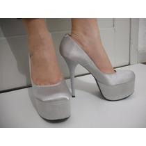 Sapato Meia Pata Prata Salto Alto, Tam 37 Novo, Impecável