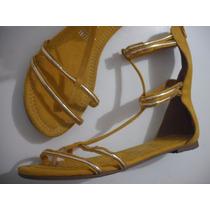 Sandalia Rasteira Vizzano Amarelo Tm 39 Nova Tipo Gladiadora