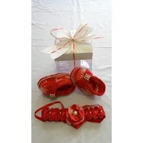 K 206 Sapatinho Crochê Feminino Vermelho Bebe Enxoval Menina