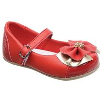 Sapatilha Infantil Feminina Boutique Vermelho Dourado