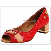Nº 38 Sapato Peep Toe Carmen Steffens Couro Vermelho Bege