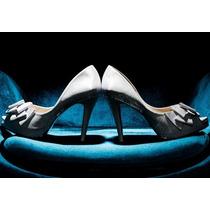 Nº 38 Sapato Peep Toe Noiva Durval Couro Cetim Branco Laço
