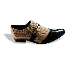 Sapato Social Masculino Envernizado Preto_dourado P:70