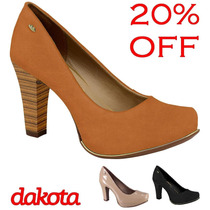 20% Off Sapato Scarpin Meia Pata Dakota Couro Cores B7106