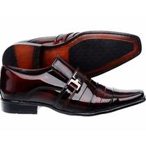 Sapato Social Masculino Verniz Mais + Cinto Vinho