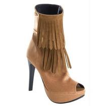 Sapato Com Franja Peep Toe Ankle Boot Barato Feminino 38 39