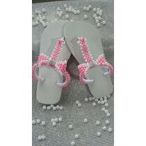 Sandálias Chinelos Customizados Com Pérolas Strass