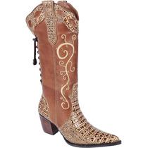 Bota Country Feminina Texana Jacare Couro Capelli Boots