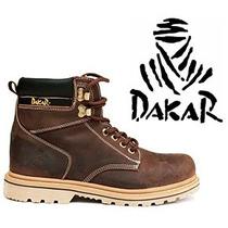 Bota Masculina Dakar 100% Couro Caminhada Coturno De Trilha