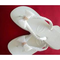 Sandálias Havaianas Bordadas Decoradas Perolas
