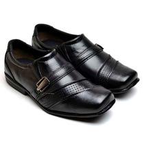 Sapato Social Menino Juvenil Infantil Couro Sola Costurada
