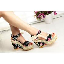 Sapato Feminino Salto Alto Sandália Verão Florada