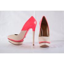 Scarpin Off White E Pink Schutz