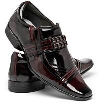 Sapato Social Masculino Preto E Vinho Verniz Couro Legítimo