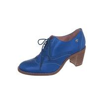 Oxford Feminino Carmim Original Azul Couro Legítimo Nº 38