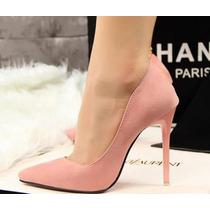 Sapato Scarpin Camurça Salto Bico Fino Importado Encomenda