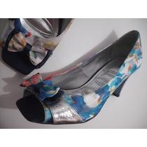Sapato Peep Toe Colorido Tam 37 Usado Bom Estado