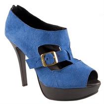 Sapato Feminino Peep Toe Azul