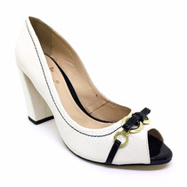Sapato Feminino Peep Toe Couro Branco Preto Salto Grosso