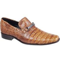 Sapato Exótico Silverado Couro De Jacaré Cor Conhaque - 100%