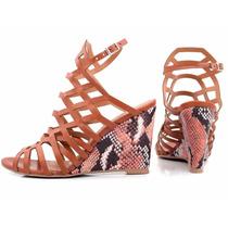 Linda Bota Sapato Sandália Anabela Feminina Salto 8,5 Cm