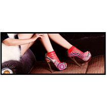 Sapato Salto 15 Fino Grosso Femenino Sandalia Louboutin