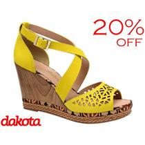 20%off Sandália Anabela Dakota Laser Couro Amarelo Z0454