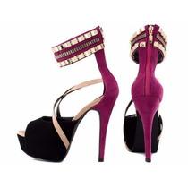 Sapato Salto Alto Rosa Pink Meia Pata Dourado Importado