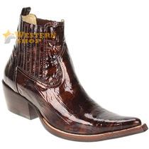 Bota Texana Masculina Plissê Verniz Dourado Bico Fino - West