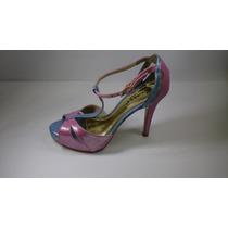 Sandália Feminina Social Biazzi- Pink/ Azul Salto 10cm
