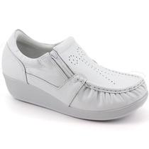 Sapato Usaflex Anatomico Ortopedico Ziper Couro- 5766 Branco