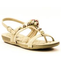 Sandália Decorada Comfortflex De Dedo Com Pedraria