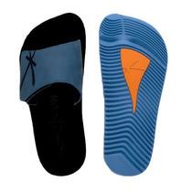 Chinelo Kenner Kivah Original Couro Preto E Azul Velcro