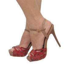 Sandália Feminina Peep Toe Plataforma Vermelha Miucha