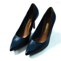 Sapato Feminino Scarpin Salto Alto Azul Via Marte
