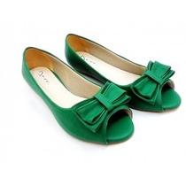 Sapatilha Salomé Espadrille Peep Toe Slippers Laço Verde