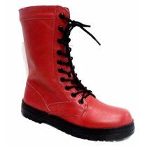 Coturno Vermelho,botina,bota,roqueiro,samu,bope,bombeiros...