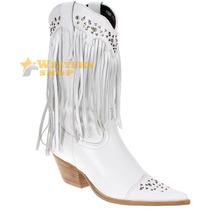 Bota Feminina Texana Branca Cano C/ Franja E Rebite - West C