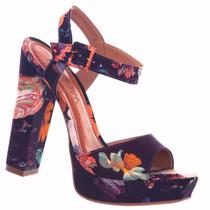 Sandália Ramarim Salto Estampa Tecido Floral Linda 1558201