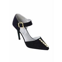 Sapato Feminino Scarpin Com Detalhes Dourados Pronta Entrega