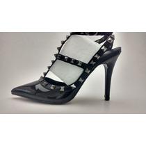 Scarpin Gladiador Tachas Valentino Rockstud Inspired Noir