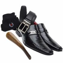 Sapato Cinto Social Masculino Couro Legítimo Dhl Lançamento