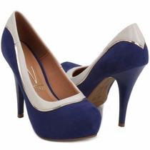 Sapato Feminino Peep Toe Vizzano Carmuça Azul E Branco-ouro