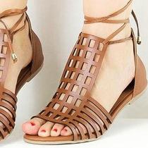 Sandália Rasteira Tipo Gladiadora