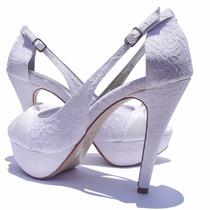 Sapato Para Noivas/peep Toe Tecido Renda, Casamento