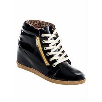 Tênis Sneaker Preto Envernizado - Preço De Fábrica!