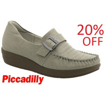 20% Off Mocassim Anabela Piccadilly Conforto Bege 214014