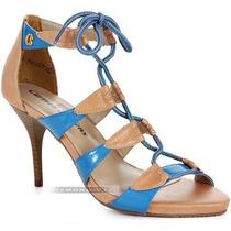 Sandália Carmen Steffens Salto Fino Médio Couro Bege Azul 37