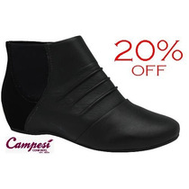 20%off Bota Anabela Campesí (dakota Conforto) Couro L4771