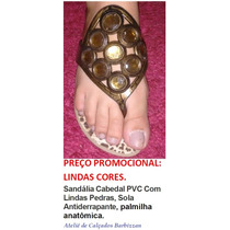 Sandália Cabedal Pvc Com Lindas Pedras, Sola Antiderrapante